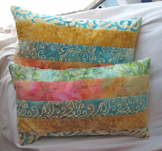 """Quilted sun-washed batiks pillow cover 14x22"""""""