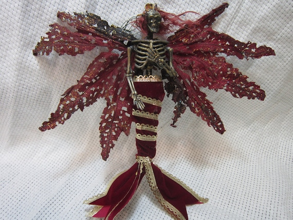 OOAK dead Skeleton Mermaid Fantasy fairy ornament miniature doll art Goth dollhouse wings queen princess