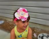 Child Pink Crochet Headband with Pink Flower