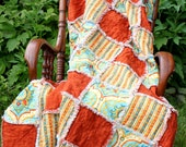 Rag Quilt Throw, Patchwork Blanket, Shabby Chic
