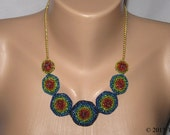 Beaded necklace hand crochet with multicolor beads