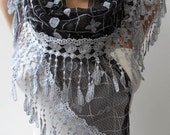 Black and Grey Laced Scarf with Grey Trim Edge  - Speacial Laced Fabric - Triangle...