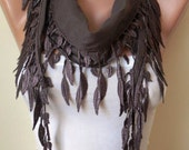 Pale Brown and Summer Scarf with Trim Edge---