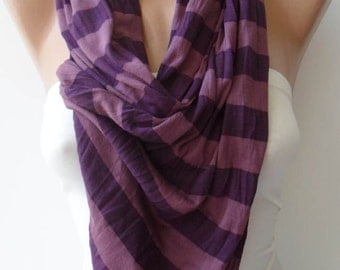 Striped Purple - Combed Cotton Scarf
