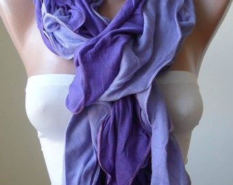 Purple Ruffle Scarf Christmas Gift Holiday Gift Scarf with Lace Edge Winter Women Fashion Accessories Christmas Gift For Her