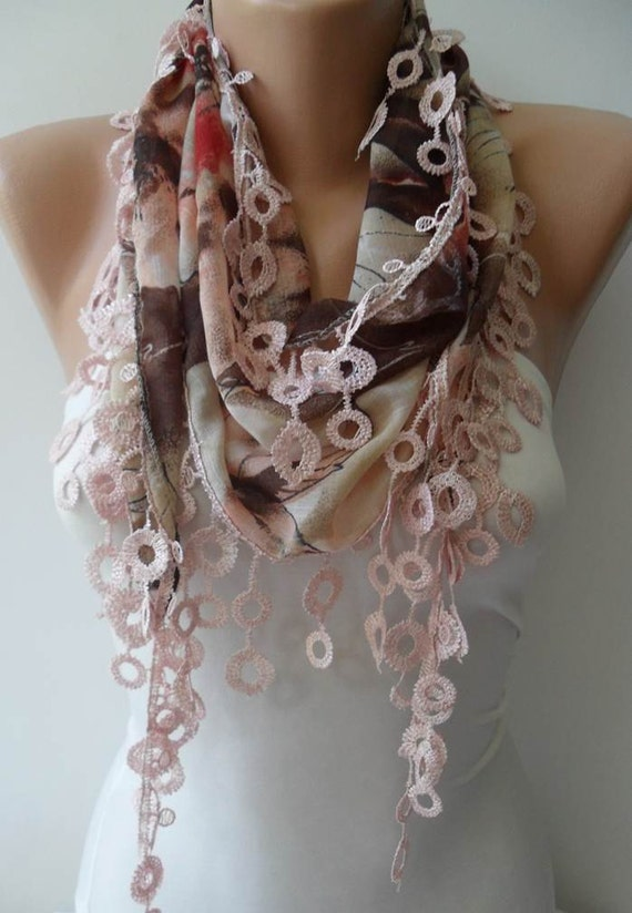 New- Beige and Light Brown Scarf with Trim Edge - Summer Colors