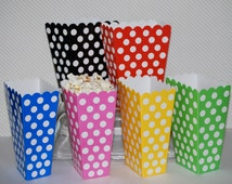 Treat Boxes - polka dot popcorn boxes (24 count) - party box - candy buffet treat box snack box gift box - YOU PICK COLORS