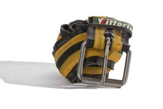 Yellow and Black Recycled Bicycle Tire Belt