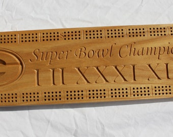 Green Bay Packer Super Bowl Champions cribbage board made from White Ash
