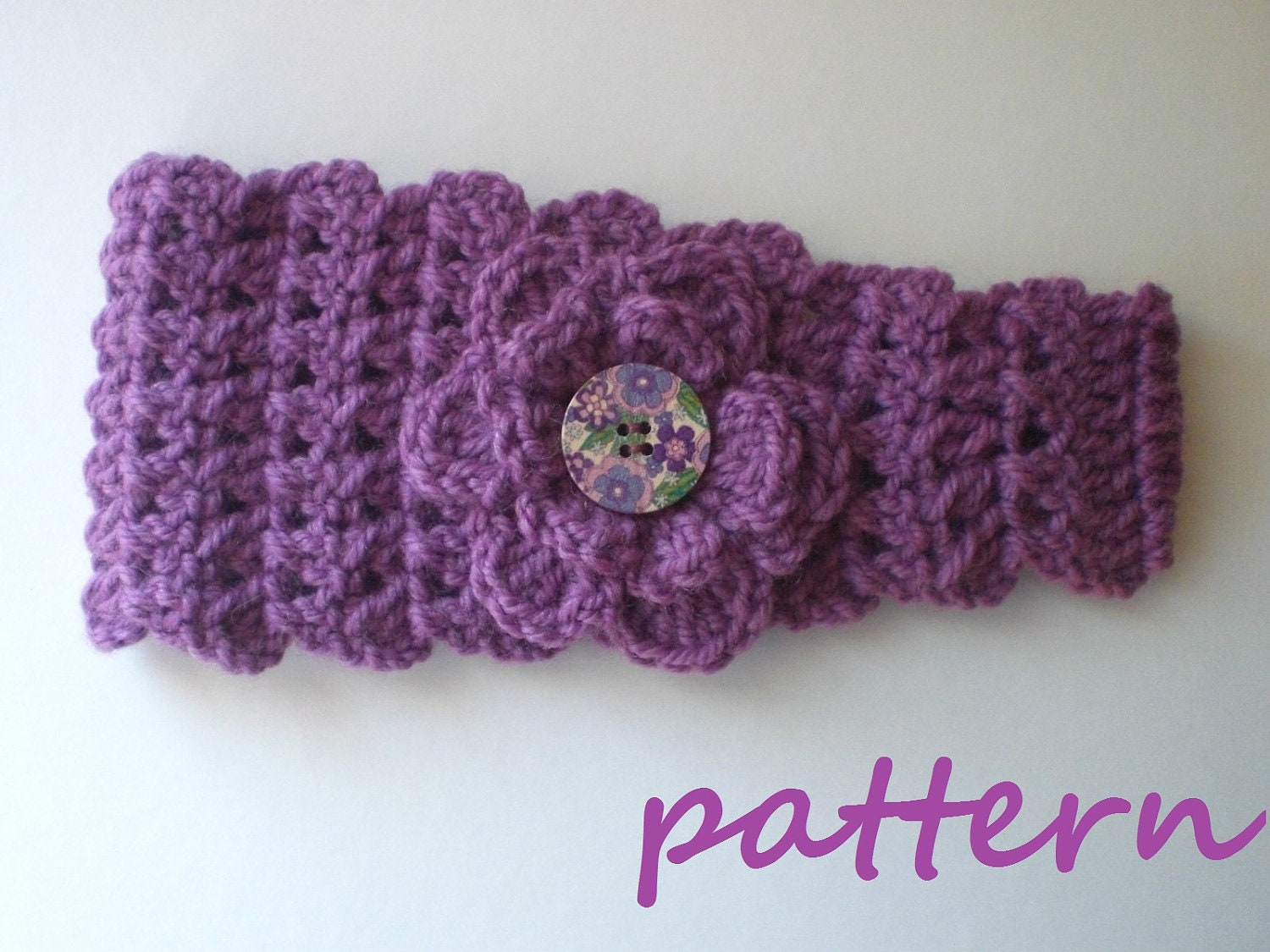 Free Crochet Pattern Headband Ear Warmer Button : Crochet Headband Earwarmer Pattern. PDF 028.