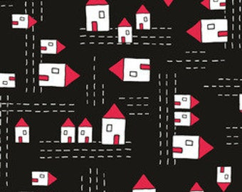 Red Thread: Houses in Black A5906 by Marisa for Creative Thursday 1 Yard Cut