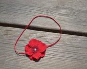 Red Flower Baby Headband - Hydrangea Flower with Swarovski Rhinestone - 4th of July - Holiday - Elastic - All Sizes