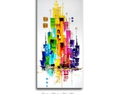 "Abstract painting 39"" x 20"" on canvas, modern contemporary art, artwork, decoration, color, skyline, city"