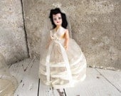 Bride Doll / Wedding Dress Veil / Black Hair Blinking Eyes / Pretty Lady / Hard Plastic Collectible Doll / epsteam