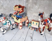 1950's Pin-Ups The Dolly Toy Co. Cowboy and Indian / Horse Drawn Buggy / Cowgirl Cowboy Singing / Accordion / Childs Room Decor / epsteam