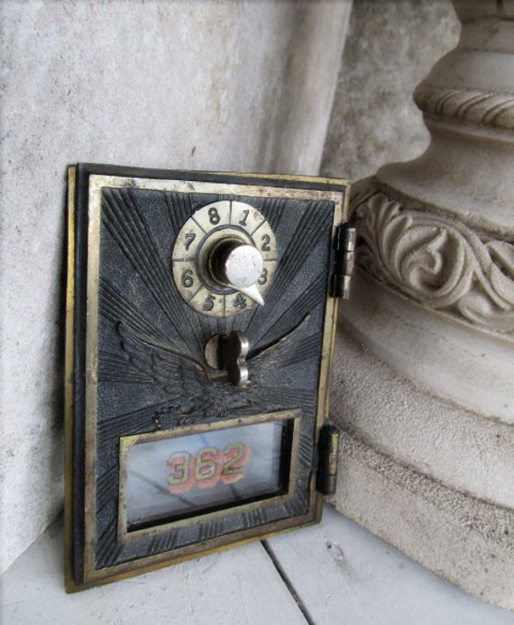 Brass PO Post Office Box Door / Metal Bronze / Combination Number Dial / Rustic 362 US Flying Eagle Sun Rays Industrial Decor / epsteam