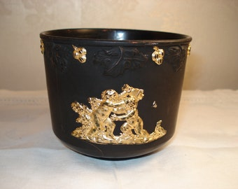 RARE ANTIQUE  Black and Gold Terracotta Wedgwood Jasperware Style Antique Cup
