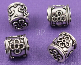 Beautiful Bali Sterling Silver Barrel Bead w/ Flower and Granulation Details, Antique Finish, Lovely Accent, 1 Pieces (BA-5036)