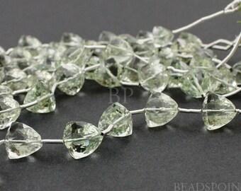 Natural ''NO TREATMENT'' Brazilian Green Amethyst Microfaceted Pyramid, Pale Green AAA Quality Gemstones 7x7mm, 1 Full Strand, (GAMpyramid)