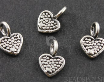 Sterling Silver Tiny Heart Charm / Pendant w/ Closed Jump Ring, Fancy Jewelry Component Finding. (SS/CH8/CR22)