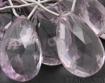 Brazilian''NO TREATMENT'' Pink Amethyst Large Faceted Flat Tear Drops, AAA Quality Gemstone 16x23 - 18-27mm, 1 Piece 2PAMLRGTear)
