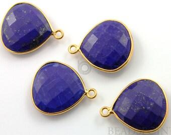 Natural Lapis Lazuli Bezel Gemstone, Heart Shape Component, 24K Gold Vermeil Over Sterling Silver,  16mm, 1 Piece, (BZC6000)