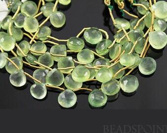 Natural ''NO TREATMENT'' Phrenite Faceted Heart Drops, AAA Quality Gemstones 8-9mm, 1Full Strand, (PREN8-9Hrt)