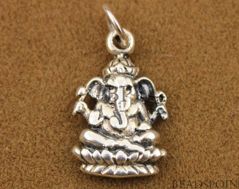 Sterling Silver Ganesh Charm/ Pendant, Beautiful Spiritual Holy Meditation Finding,  (SS/CH2/CR7)