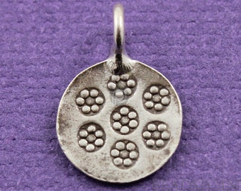 Fine Silver (.999) Thai Hill Tribe Handmade Floral Pattern Round Charm / Pendant, Detailed Pattern, Lightly Oxidized, 2 Pieces (HT10017)