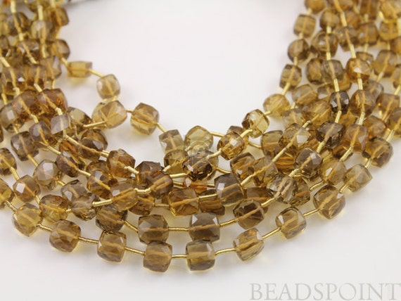 Natural ''NO TREATMENT'' Brazilian Whiskey Topaz Faceted Small Cubes, AAA Quality Gemstones 5x5 to 6x6mm, 1 Strand (WTZ6Cube)