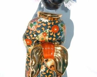 Geisha Girl Japanese Porcelain Figurine Lavishly Decorated with Bow