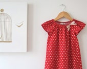 SALE ONLY ONE- 30% Toddler Girls Dress-Red with white stars and ribbon bow-baby peasant dress-Children Clothing by Chasing Mini.size 2