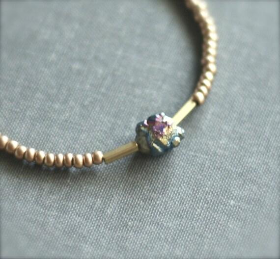 Meteorite Friendship Bracelet - Peacock Ore and Gold Glass / Natural stone / Geo Minimal / Purple blue / Colorful / beach jewelry
