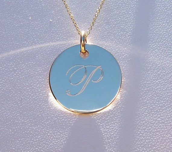 Monogram Necklace, Initial Necklace, Personalized Necklace, Gold Filled Engraved Monogrammed Necklace, Excellent Bridesmaids Gift