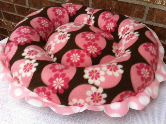 SALE Dog Bed- Round, 'Flower Power '