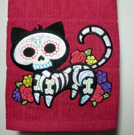 sugar skull cat towel custom kitchen by goldenstitchstudio on etsy. Black Bedroom Furniture Sets. Home Design Ideas