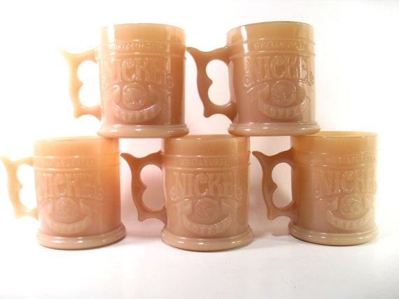 Set of 5 Whataburger Milk Glass Nickel Mugs