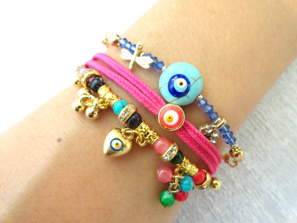 ethnic bracelet set with an evil eye turkish istanbul jewelry