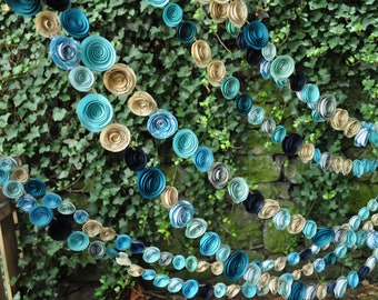 Wedding Garland Paper Flowers Shades of Teal Music Paper 35 feet of garland