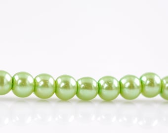Light Green Glass Pearl Round Beads 4mm, 1 strand approx 220 beads