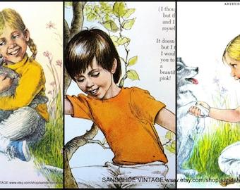 1970s PETS TREE CLIMBING Children Bundle of Prints for Scrapbooking