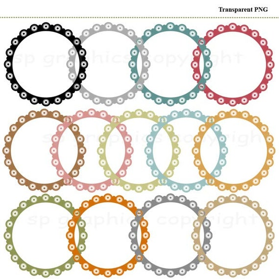 Circle Digital clip art frames tags for cards, photography, scrapbooking, invites, general craft work