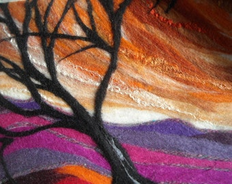 abstract landscape, abstract tree, felted picture