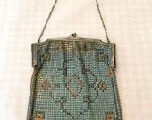 Mesh Whiting & Davis Handbag Enameled Antique Art Deco Silver