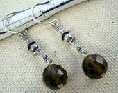 Sterling silver and faceted smoky topaz (quartz) earrings by Cerise Jewelry