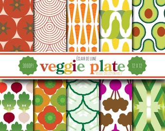 Digital Scrapbook Papers Vegetables Veggies