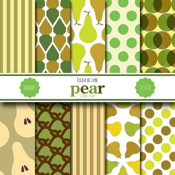 Pear Digital Scrapbook Paper Green Brown