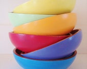 tropical colored painted wooden bowls blue, yellow, pink, purple, green, orange