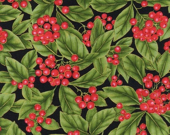Natures Holiday by Timeless Treasures CM8790  Holly Berries Black 1 yard