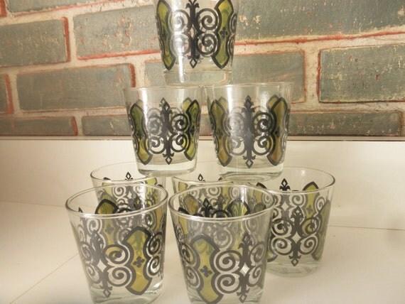 Anchor Hocking Espana pattern,1960's barware, Mad Men style set of swigs